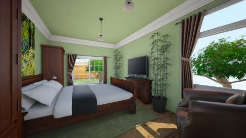 Victorian Green Bed - Minimal - Bedroom  - by Lisett