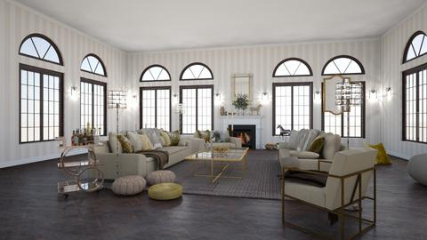 Gold and Creme Salon - Living room  - by lpkinteriordesigns