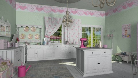pink shabby chic - Vintage - Kitchen  - by auntiehelen