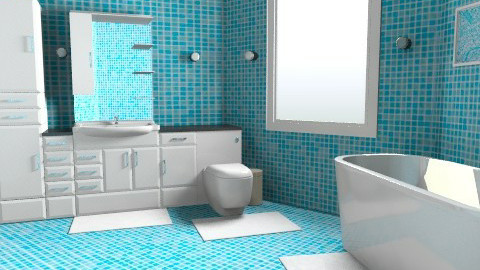 blue - Minimal - Bathroom  - by artist ena