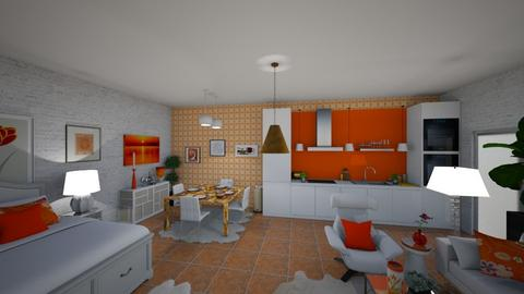 Orange and White - Retro - by Irishrose58
