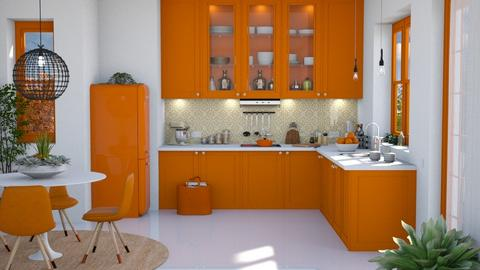 Orange and White - Modern - Kitchen  - by Claudia Correia