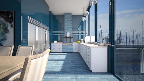 Blue Kitchen - Kitchen  - by amyskouson