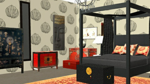 ChineseBedroom1 - Eclectic - Bedroom  - by camilla_saurus
