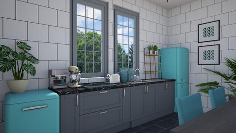 Blue kitchen - Kitchen  - by sara1010