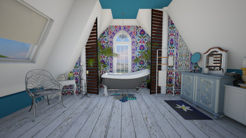 blue boho attic - Classic - Bathroom  - by donella