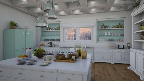 Cool  Calm Kitchen - Vintage - Kitchen - by Kathran