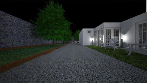 Home at night5 - Garden  - by lovasemoke
