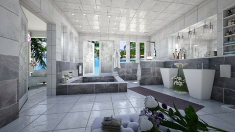Marbled Slate - Modern - Bathroom  - by Lackew