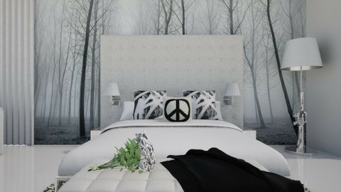 Monochrom bed-m. Panorama - Bedroom  - by XValkhan