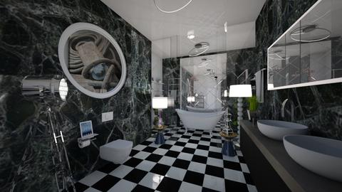 Black_White_Modern_Bath - Modern - Bathroom - by Nikos Tsokos