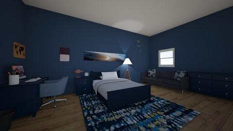 navy bedroom  - Bedroom  - by Gracie6