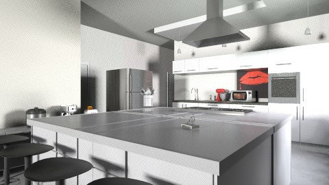 salas blackandred - Modern - Kitchen  - by deleted_1620345943_kellassuncao