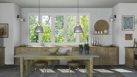 Stone and Wood Kitchen - Rustic - Kitchen  - by LizyD