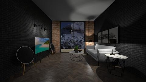 Dark Living Room - Living room  - by Tanem Kutlu