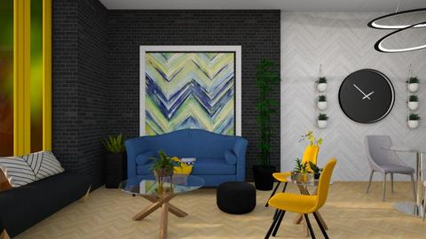 Blue Yellow Green Chevron - Living room - by Asha_Shade