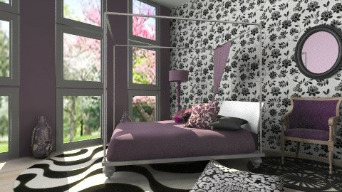 Purple bedroom - Minimal - Bedroom  - by Laurika