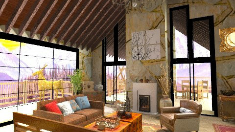 Winter Retreat - Rustic - Living room  - by BerBer