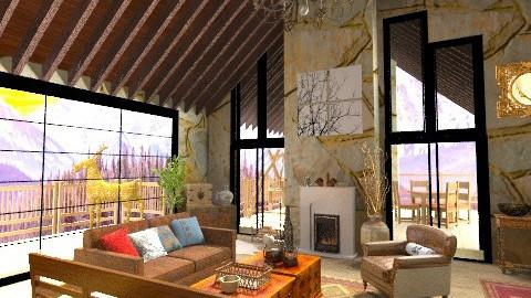 Winter Retreat - Rustic - Living room  - by BerBer