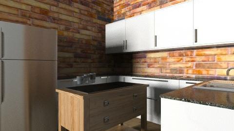 brick kitchen - Rustic - Kitchen  - by goldengirllover