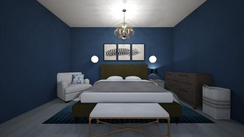 Modern blue bedroom - Bedroom  - by slothsarethebest