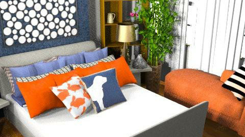 Orange and Navy Bedroom - Retro - Bedroom  - by amanda89ab