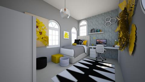 Soft grey and yellow  - Bedroom  - by Chayjerad