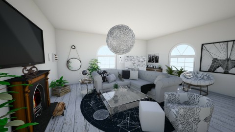 grey theme - Living room - by koskchri