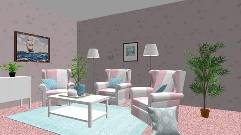 Pink tea time - Living room - by Lori Hallman Douglas