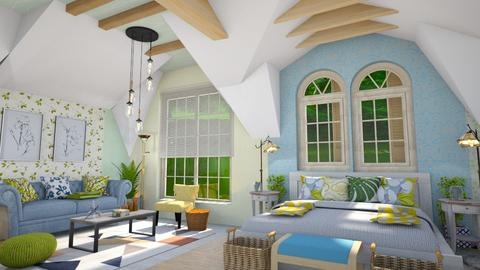 slopped ceiling bedroom - Bedroom  - by Moonpearl