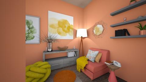 Peach Livingroom - Rustic - Living room  - by dixiehames