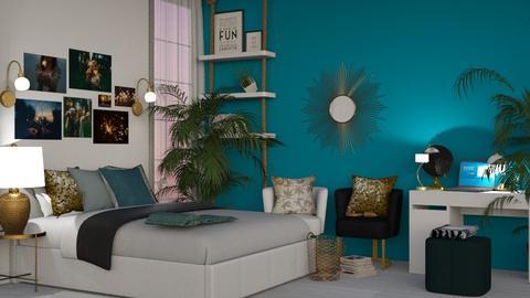 Turq n Brass - Bedroom  - by KittyT6