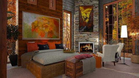 Autumn Pattern Bedroom - Bedroom  - by Sue Bonstra