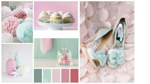 Mint Pink moodboard - by Cristina Mazilu