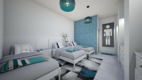 quarto dos trigemeos  - Retro - Bedroom  - by kelly lucena