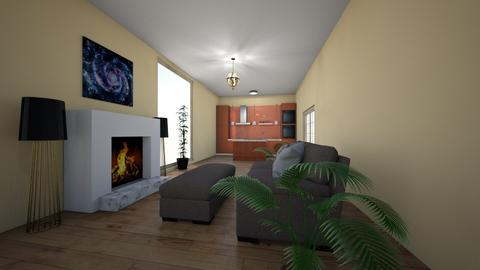 Beige living room kitchen - Modern - Living room  - by yipperyapper