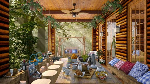 Log Cabin Porch  - Garden  - by lydiaenderlebell