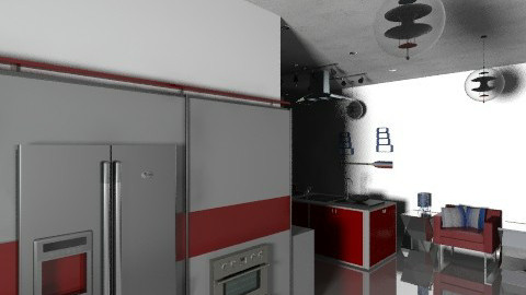 Red and Blue and Black - Modern - Kitchen - by SaraxDGoesRoarr