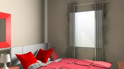 Aska Red and White Curtains 3-1 - Rustic - Bedroom  - by apikovsky