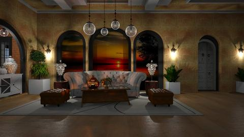 Orange and white - Rustic - Living room  - by ZsuzsannaCs