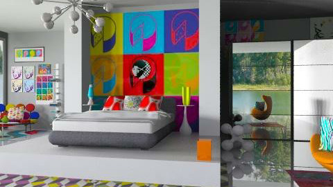 Pop Art Bedroom 2 - Retro - Bedroom  - by idesine