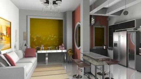 sala e cozinha - Retro - Kitchen  - by teoarquiteto