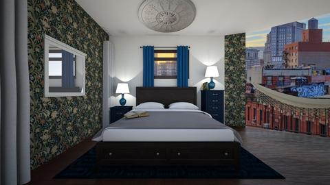 navy bedroom - Bedroom - by ilikalle