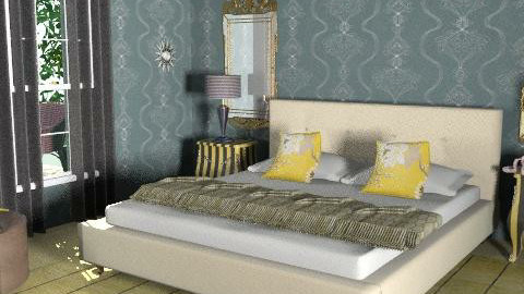 Sunny Yellow in Calm Blue - Classic - Bedroom  - by Dea Richardson