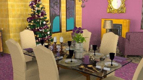 Purple & Gold Christmas0 - Dining Room  - by dine_