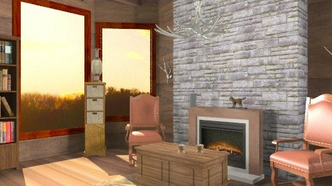 rustic lodge - Rustic - Living room  - by whodat1910