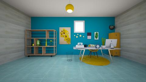 Yellow Office Blue - Modern - Office  - by Looking for happiness