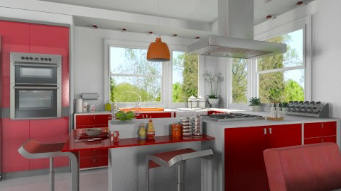 Apple Red Kitchen - Modern - Kitchen  - by Bibiche