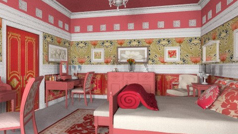 Dala Red Bedroom - Vintage - Bedroom  - by Bibiche