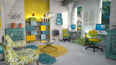 blue yellow green office - Office  - by Moonpearl